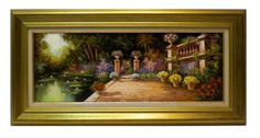 Salinas : Gardens. Medium: Oil on canvas Measurements (cm): 99x49 Canvas measurements (cm): 80x30 Interior frame: Yes. Light, colour, harmony, composition, etc. It has all the ingredients necessary to create a work of quality.  $ 499.50