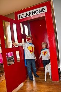 Don't forget to turn a fridge box into an epic telephone booth changing station. How To Throw The Most Awesome Superhero Party Ever Superhero Birthday Party, Boy Birthday, Birthday Parties, Superman Birthday, Superhero Classroom, Superhero Kids, Birthday Ideas, Vintage Pop Art, Changing Station