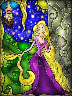 Rapunzel & Flynn [feat. Pascal] (Stained Glass by MandieManzano @deviantART) #Tangled