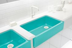 Bright colored cast iron sinks by Jonathan Adler for Kohler.
