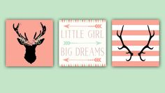 Baby Girl Nursery Decor - Coral and Mint - Antlers - Deer Head - Arrows -Little Girl Big Dreams - Nursery Quote Set of Three 12x12 Prints :https://urcrafti.com/product/baby-girl-nursery-decor-coral-and-mint-antlers-deer-head-arrows-little-girl-big-dreams-nursery-quote-set-of-three-12x12-prints/