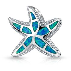 Bling Jewelry Bling Jewelry Synthetic Blue Opal Nautical Starfish... ($26) ❤ liked on Polyvore featuring jewelry, pendants, blue, beach jewelry, imitation jewelry, pendant jewelry, starfish pendant and starfish jewelry