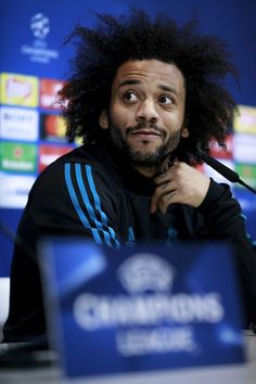 Marcelo Photos - Marcelo of Real Madrid CF attends a press conference at Valdebebas training ground ahead their Round of 16 first leg UEFA Champions League match against Paris Saint-Germain Football Club on February 13, 2018 in Madrid, Spain. - Real Madrid Training And Press Conference