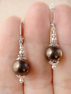 Handmade 10Mm Tahitian Brown Sea Shell Pearl Leverback Drop/Dangle Earrings #earringshandmade