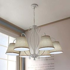 Cheerhuzz Vintage White Metal Chandelier Lighting E27 Bulb Antique Pendant Lamp Kitchen Fabric Lampshade Ceiling Light PL6386WH ** Click for Special Deals #KitchenPendants Cheap Chandelier, Metal Chandelier, Iron Chandeliers, Chandelier Lighting, Kitchen Fabric, Fabric Lampshade, Simple Living Room, Kitchen Pendants, Living Room Bedroom