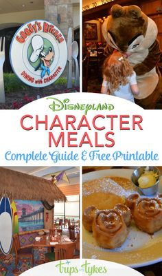 The ultimate guide to Disneyland character dining. Pick which character breakfast or character meal is right for your family with this handy free printable. Written by a mom and Disneyland expert who has dined at them all! #disneyland #disney #characterbreakfast #charactermeal