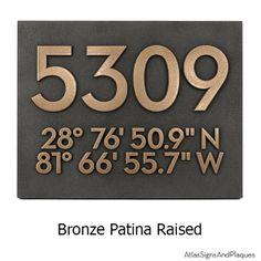 Latitude Longitude Address Number House Plaque. A modern contemporary way to let people know how to find you.  Available in 16 different finishes and proudly made in the USA by Atlas Signs and Plaques