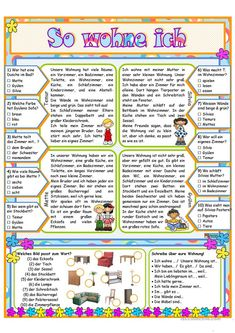 So wohne ich Arbeitsblatt - Kostenlose DAF Arbeitsblätter German Grammar, German Words, Grammar And Vocabulary, English Vocabulary, German Resources, Germany Language, Italian Lessons, Word Board, Texts
