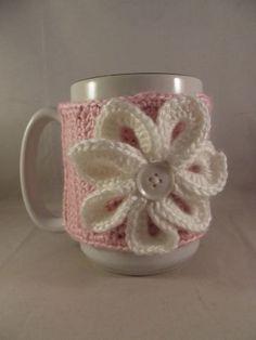 Valentine's Day Crochet Light Pink Coffee Mug Cup by kokadoodle3, $7.00