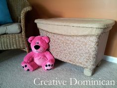 Large plastic bin turned into toy box.... or could just be for a decorative storage box.   Great project for the new house!