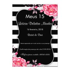 Black & White Striped Reception Watercolor Flowers Card