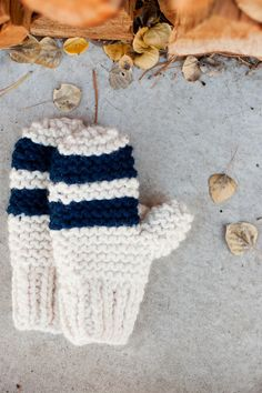 Garter Stitch Chunky Mittens, Striped or Color Block - A Quick Cozy Knit Gift - Flax & Twine