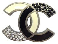 Chanel Chanel #5796 Large CC Two tone bicolor beige black enamel plated Black clear crystals logo Brooch