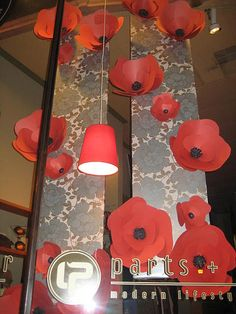 September 2009 window display by talented Jessica Levin. (wall decoration with paper bulletin boards) School Displays, Library Displays, Bakery Window Display, Window Displays, Souvenir Display, Library Inspiration, Library Ideas, Remembrance Day Art, Paper Wall Decor