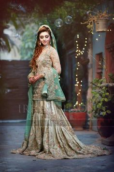 Latest Beautiful Walima Bridal Dresses Collection For Weddings Green Things c green color frocks Asian Wedding Dress, Pakistani Wedding Outfits, Pakistani Wedding Dresses, Bridal Dresses 2018, Bridal Outfits, Dress Outfits, Formal Dresses, Walima Dress, Mehndi Dress