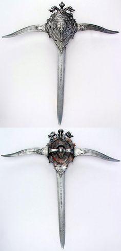 Indian (Thanjavur) katar, 17th–18th century,  steel. Dimensions: L. 19 1/8 in. (48.6 cm); W. 18 1/2 in. (47 cm); Wt. 24.3 oz. (688.9 g), Met Museum.