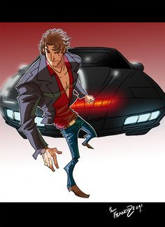 Knight Rider by theFranchize on DeviantArt Geek Culture, Pop Culture, Ford Mustang, Cartoon Sketches, Car Drawings, Drawing Skills, Pulp Art, Art Challenge, Cultura Pop