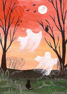 Halloween Ghosts -  ACEO ORIGINAL - Autumn Landscape - original artwork acrylic painting