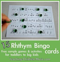 la tombola del ritmo - Free rhythm bingo game from Teaching Children Music Children Music, Music For Kids, Piano Teaching, Teaching Kids, Middle School Music, Music Lesson Plans, Music Worksheets, Primary Music, Music Activities