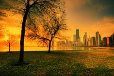 Chicago sunrise & skyline from North Avenue Beach by Jeffrey B., via Flickr