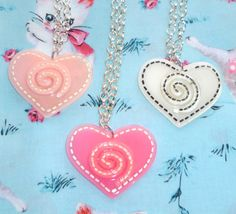 Dizzy Love Necklace  Large Hearts choose from by NiNEFRUiTSPiE, £2.00