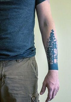 Manly Pine Tree Tattoo For Men