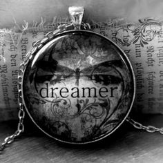 Items similar to Great Gift Idea: DREAMER inspirational word art pendant necklace by Jessica Galbreth on Etsy Blue And Purple Mixed, Day For Night, Faeries, Glass Pendants, Word Art, Black And White Photography, The Dreamers, Great Gifts, Chain