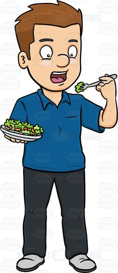 A Man Delightfully Eats A Plate Of Fresh Salad #black #cherrytomato #civilian #consumption #darkhair #darkhaired #diet #eating #feeding #food #fruit #healthy #human #humanbeing #iceberglettuce #individual #ingestion #intake #leggings #lettuce #male #maleperson #man #mortal #nutrient #pants #person #plate #romainelettuce #shirt #shoes #single #somebody #someone #tomato #tomatoes #uptake #vegetable #vector #clipart #stock