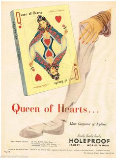 HOLEPROOF STOCKINGS AD QUEEN HEARTS Vintage Advertising 13 MAY 1950 Original AD