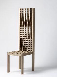 Maria Wettergren Gallery | High Grid chair | Boris Berlin | wooden chair | high back chair | wooden machined chair | machined wood | material chair | sculptural chair | design novelty | design trends | design gallery | art gallery | new chair | geometrical chair | architectural chair | architectural furniture | wooden furniture
