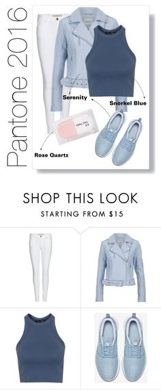 """Sport Chic. Pantone 2016, Snorkel Blue, Serenity, Rose Quartz."" by stylekaris ❤ liked on Polyvore featuring Burberry, Gestuz, Topshop, NIKE and Sarah's Bag"