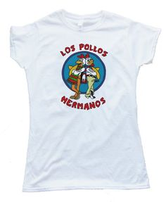 Los Pollos Hermanos Chicken Brothers Breaking Bad AMC TV show design silscreened onto a Gildan Softstyle white tee shirt for wowomen. Printed on 100% Ring-Spun Cotton and printed with water-based inks for ultra-softness. Euro style fit in neck shoulders and sleeves, Double needle sleeves and bottom hem. These shirts are comfortable, durable and super-soft 4oz cotton!
