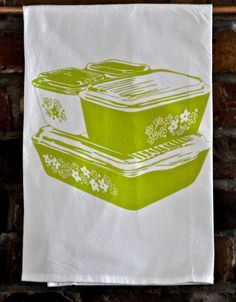 Tea Towel: Crazy Daisy, Spring Blossom, Vintage Pyrex Fridgies Design by Fresh Pastry Stand on Gourmly