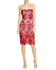 Olivaceous Strapless Lace Dress | Bloomingdale's