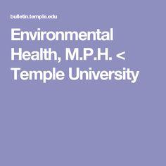 Environmental Health, M.P.H. < Temple University