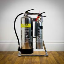 Sturdy and stylish, the chrome fire extinguisher stand is perfect for the modern interior!