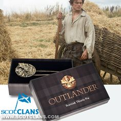 Introducing the Outlander Scottish Thistle Logo Pin. In Gold Zinc Alloy, it's hypoallergenic.  It comes in a tartan gift box with foam insert.   The pin is 1.25