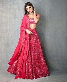 giving us major Wedding Outfit Goals with her Splendid Mirror work Pinkish Lehenga. Indian Gowns Dresses, Indian Fashion Dresses, Dress Indian Style, Indian Designer Outfits, Pakistani Dresses, Indian Wear, Indian Lehenga, Bollywood Lehenga, Punjabi Lehenga