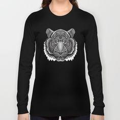 tiger face aztec pattern  Long Sleeve T-shirt @pointsalestore @society6threesecond #longsleeve #tee #tshirt #clothing #Drawing #Graphite #Inkpen #Digital #Blackandwhite #Pattern #Artdeco #Artdeco #Tiger #Animal #Mandala #Mandalas #Design #Thunder #Cats #Aztec #Mayan #American #Native #Tattoo #Gryffindor