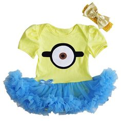 Minion Yellow Onesie With Blue Tutu Dress With Headband