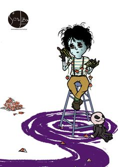Soulza Illustration. Tim Burton. Edward Scissorhands. Lowbrow. Illustration