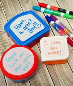 dry erase lunchbox notes - add dry erase labels to plastic containers.