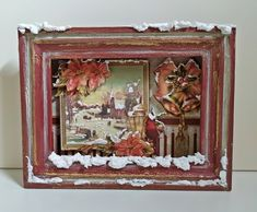 Christmas theme frame/3D decoupage by Thoulie on Etsy
