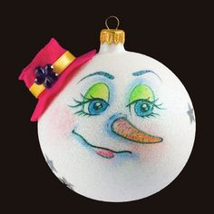 """""""Mrs Snowman"""" - Personalized Glass Christmas Tree Decorations - Bauble / Ball Ornament Decoration"""