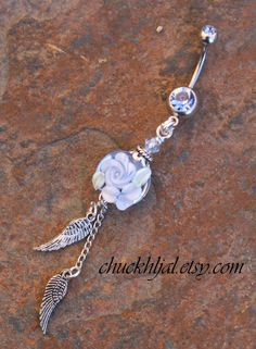 Angel Wings Blue Floral Garden Lampwork DeSIGNeR Belly Button Navel Rings by chuckhljal, $27.00
