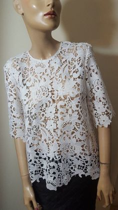 60098252386e 🦄Zara Woman Size M 10 12 White Guipure Lace Floral Top Blouse Short Sleeve