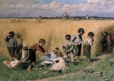 Emile Claus - On the Way to School   Emile Claus was a Belgian impressionist painter known for his luminescent scenes of children and families in rural life.