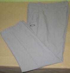 Men's OAKLEY  Flat Front Golf  Pants Sz 36  x 30 - Gray #Oakley #DressFlatFront