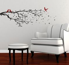 Wall Decals Elegant Cherry Blossoms Branch BRCBL Cherry - Vinyl wall decals asian