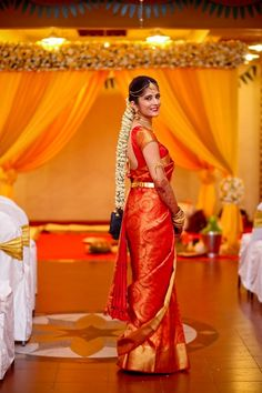 Looking for South Indian Bride Wearing Red Saree? Browse of latest bridal photos, lehenga & jewelry designs, decor ideas, etc. on WedMeGood Gallery. Indian Bridal Sarees, Wedding Silk Saree, Wedding Dress, Indian Bridal Wear, South Indian Bride Saree, Wedding Bride, South Indian Bride Hairstyle, Bride Indian, South Indian Weddings